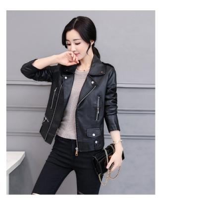 2F韓衣-韓系翻領拉鍊造型皮革外套-黑(M-3XL)