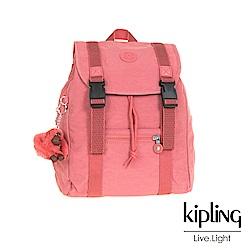 Kipling微甜薔薇粉雙扣掀蓋後背包-AICIL