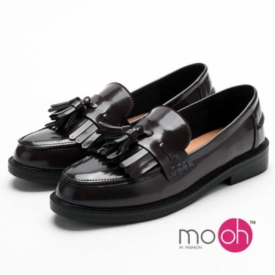 mo.oh 流蘇經典紳士鞋低跟樂福鞋-黑