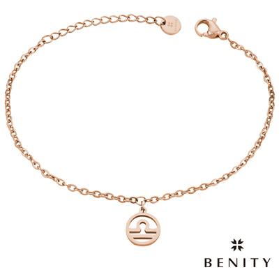 BENITY 星座吊飾 星座物語 天秤座 醫療級抗敏 白鋼 IP玫瑰金 女手鍊