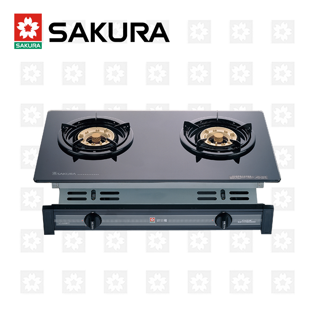 櫻花牌 SAKURA 兩口玻璃面板嵌入爐 G-6500KG 天然瓦斯 限北北基配送