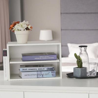 樂嫚妮 DIY 日式 二層收納櫃/空櫃/書櫃-層板可抽-純白色3入組-42X28.2X28.8cm