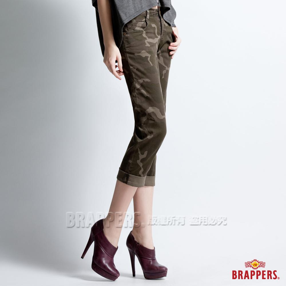 BRAPPERS 女款 BoyFirendJeans 系列-女用彈性迷彩七分反摺褲-迷彩