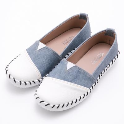 River&Moon台灣製撞色拼接皮革Q軟縫線懶人休閒鞋 藍