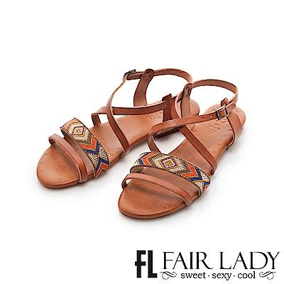 Fair Lady PORRONET 民族風串珠皮革繞帶平底涼鞋 棕