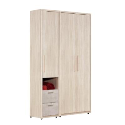 文創集 杜蜜拉 現代4.1尺二抽三吊衣櫃/收納櫃組合-122.2x60x200cm免組