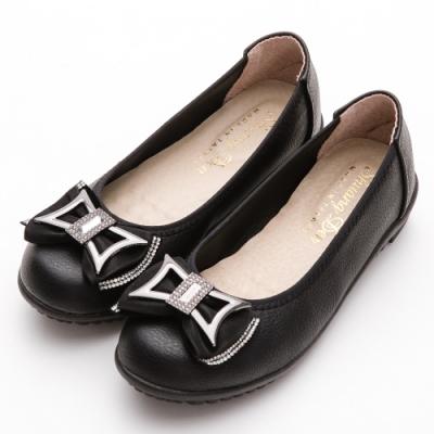River&Moon乳膠鞋 台灣製蝴蝶鑽飾柔軟舒適楔型娃娃鞋 黑