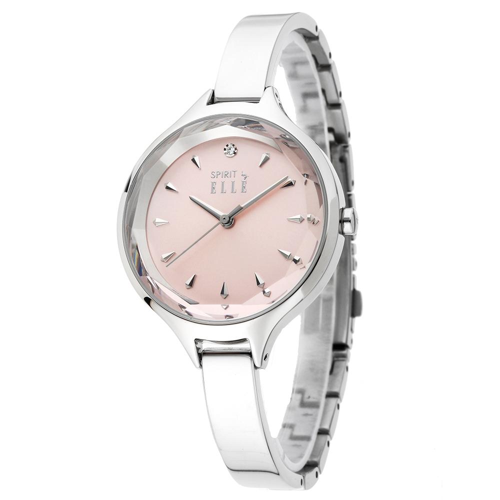 ELLE  美麗亮眼時尚女錶-粉色銀/34mm