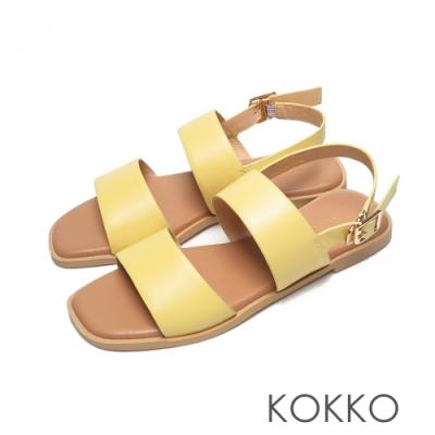 KOKKO時髦方頭一字帶柔軟羊皮平底後帶涼鞋黃色