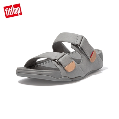 【FitFlop】GOGH MOC CANVAS SLIDES 帆布雙帶涼鞋-男(灰白色)