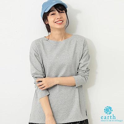 earth music  素面/橫條紋前短後長船型領長袖上衣