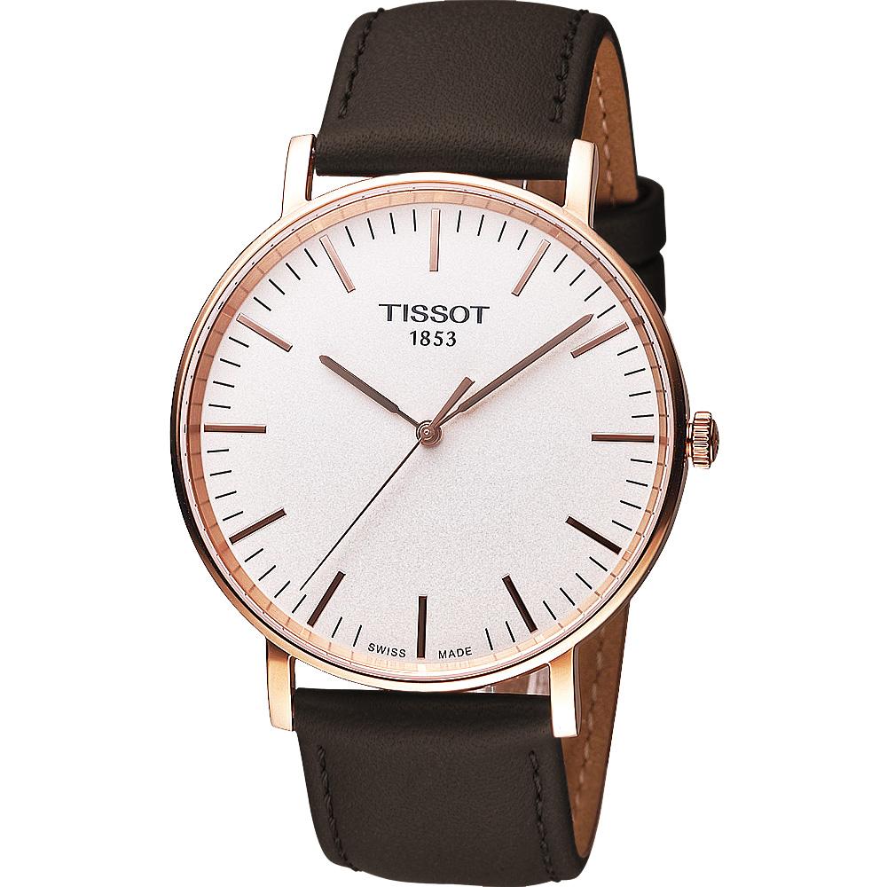 TISSOT 天梭 Everytime 經典時尚腕錶-玫瑰金色框/42mm