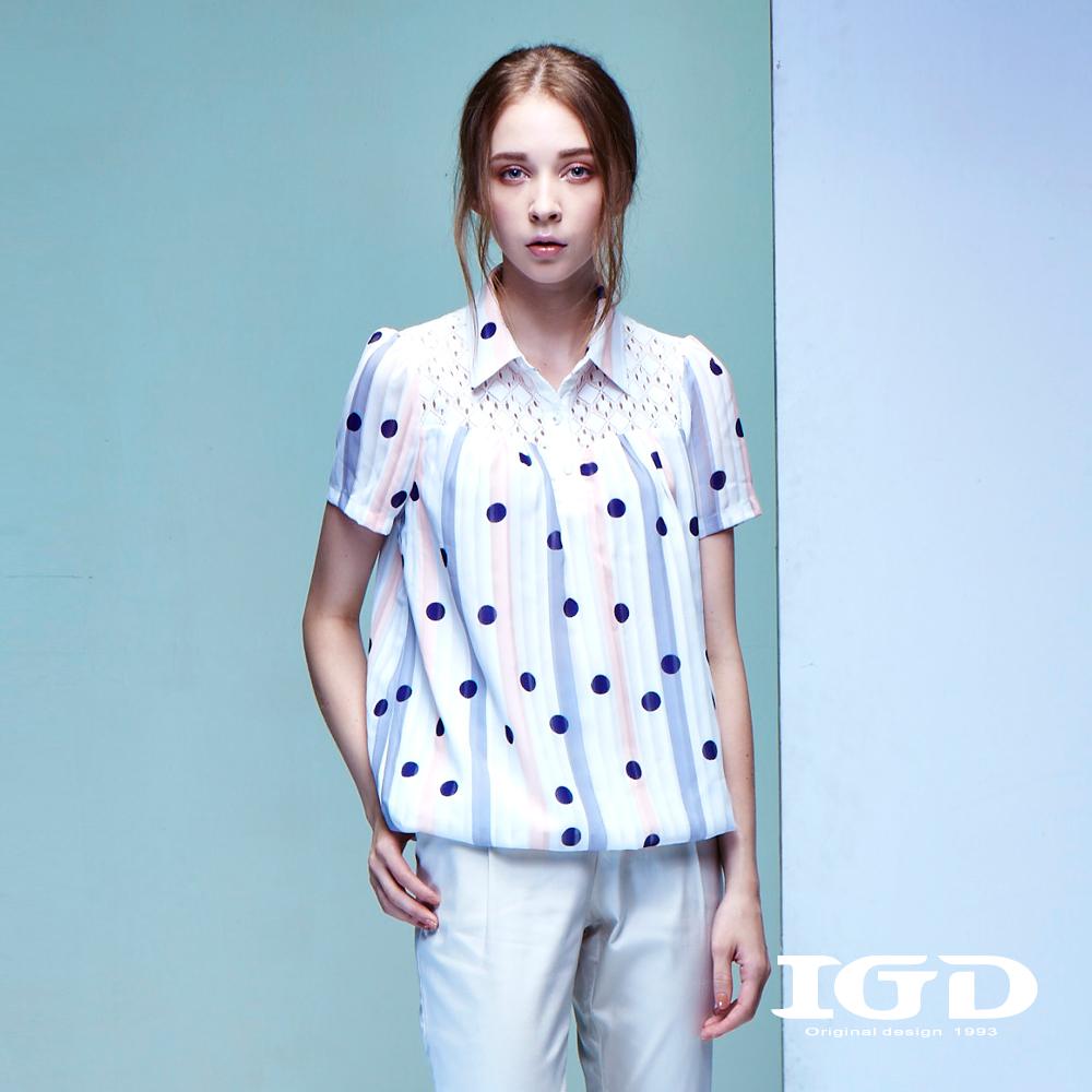 IGD英格麗 都會悠閒風彩條波點蕾絲拼接造型襯衫上衣