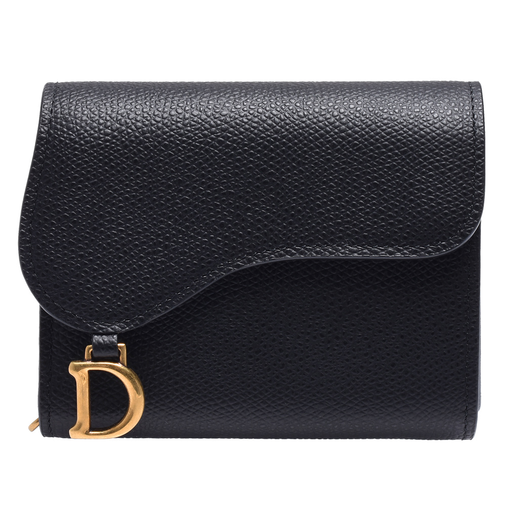 Dior Saddle系列經典粒面小牛皮暗釦短夾(黑色)