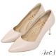 Ann'S嚮往的女人味-性感弧線柔軟小羊皮電鍍細跟尖頭高跟鞋-杏 product thumbnail 1
