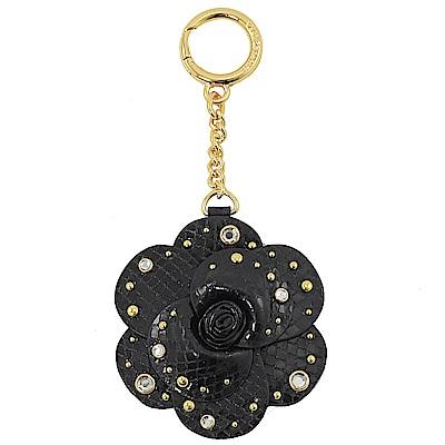 MICHAEL KORS KEY CHARMS立體花朵鑰匙圈(黑)