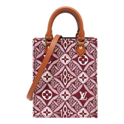 Louis Vuitton SINCE 1854 PETIT SAC PLAT 迷你手提斜背包(酒紅色)
