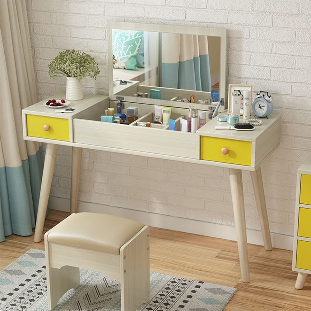 【Incare】北歐風女神掀蓋雙抽化妝桌(附椅凳/90x40x75cm)