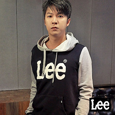 Lee 大LOGO長袖連帽TEE恤/RG