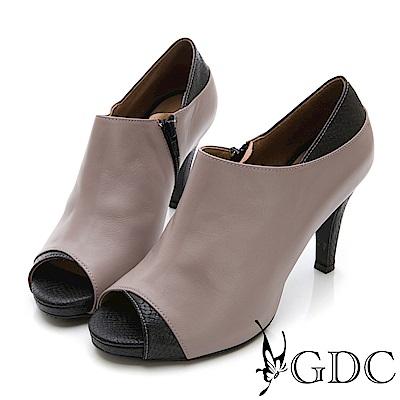 GDC-真皮拼接歐美設計感性感魚口高跟鞋-灰色