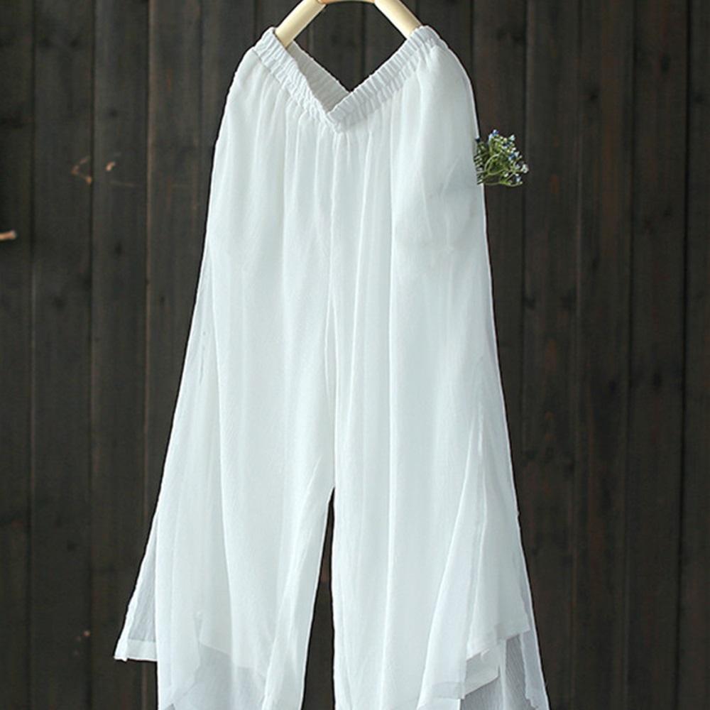 飄逸自然寬鬆網紗寬管九分褲-設計所在