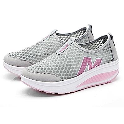 韓國KW美鞋館 好穿鞋推薦透氣輕量健走塑身鞋-灰色