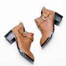 River&Moon短靴-側V口皮帶扣粗跟短靴 黃棕