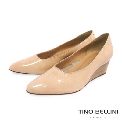 Tino Bellini義大利進口優雅端莊牛漆皮楔型鞋_膚