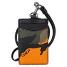 COACH軍綠橘色迷彩紋拼接黑邊真皮掛式證件票卡夾