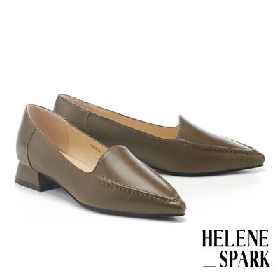 低跟鞋 HELENE SPARK 極簡柔軟純色全真皮尖頭粗低跟鞋-綠