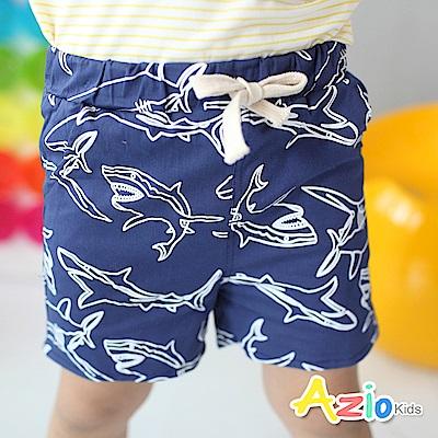 Azio Kids 短褲 滿版框線鯊魚鬆緊短褲(深藍)