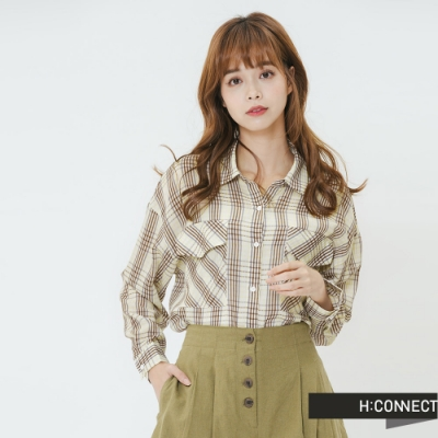 H:CONNECT 韓國品牌 女裝-雙口袋造型格紋襯衫