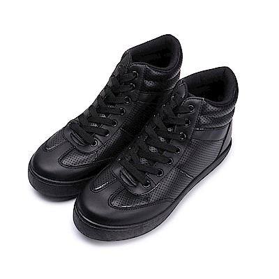 BuyGlasses 微內增高綁帶高筒休閒鞋-黑