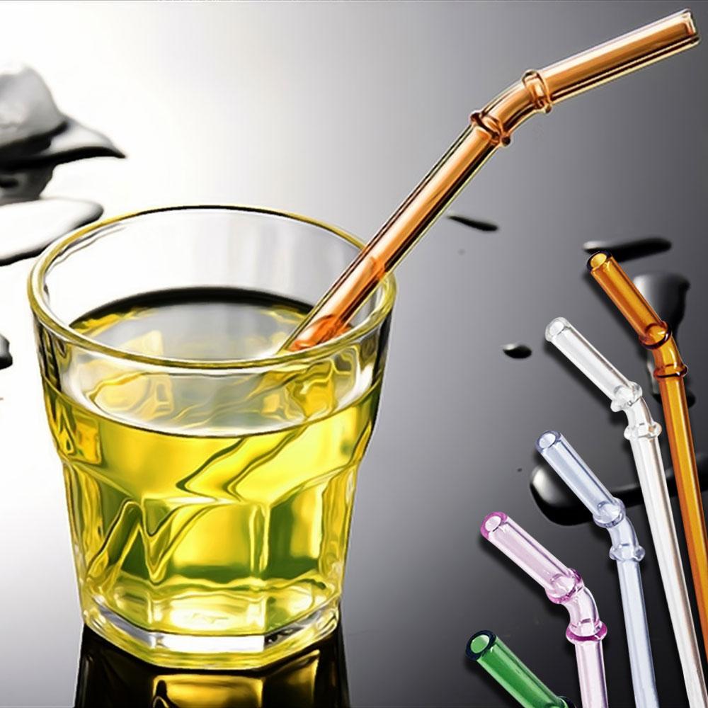 Ezlife 高硼硅竹節彎頭環保玻璃吸管10入組(贈清潔刷)