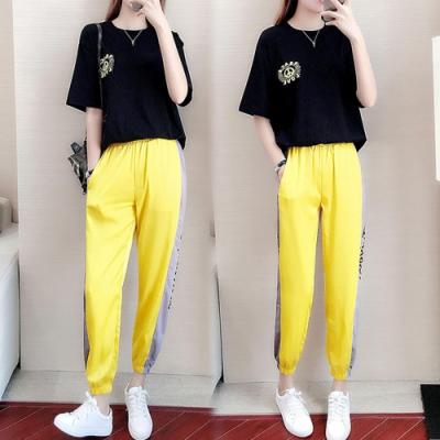 【韓國K.W.】(預購)夏日秘密休閒時尚運動套裝褲-1色