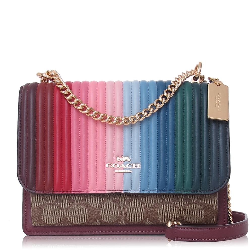 COACH 彩虹 絎縫皮革 / KLARE 方型兩用包(小款/卡其紅)
