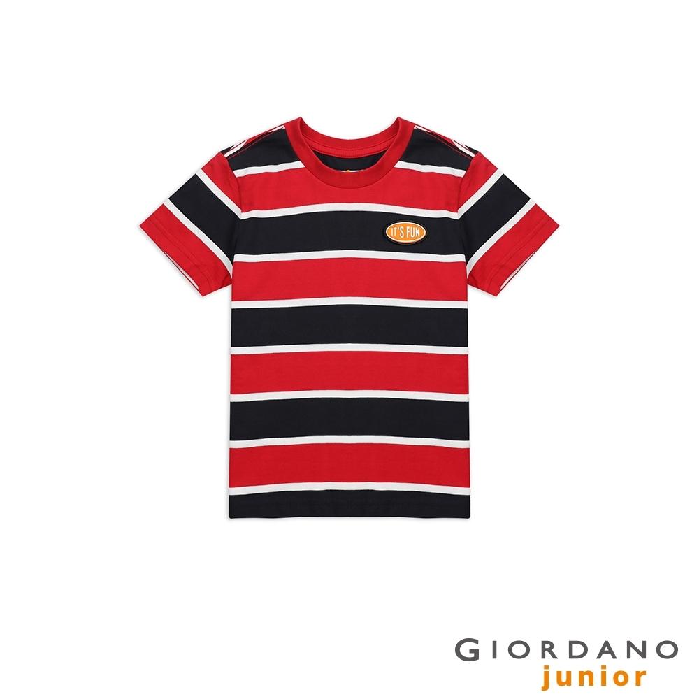 GIORDANO 童裝復古立體膠印布章條紋T恤-07 新冠軍紅