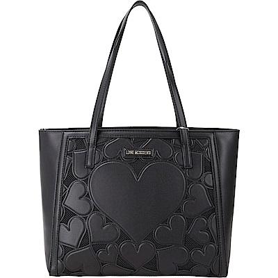 LOVE MOSCHINO 心型浮雕蕾絲皮革托特包(黑色)