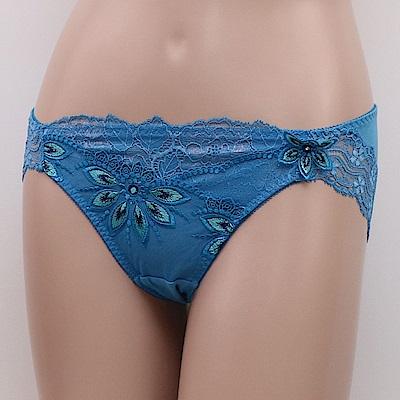 莎露- 璀璨 M-LL 中低腰三角褲(孔雀藍)奢華刺繡蕾絲