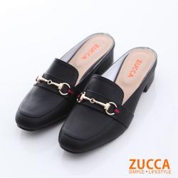 ZUCCA【z6609bk】環扣金屬紳士平底拖鞋-黑色