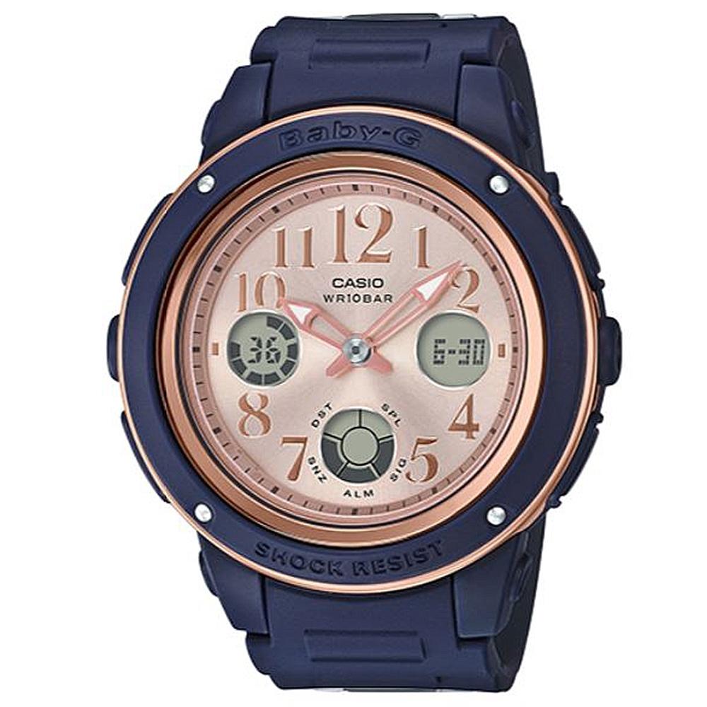 BABY-G 時尚個性混搭玫瑰金風格運動錶-藍x粉面(BGA-150PG-2B1)43mm