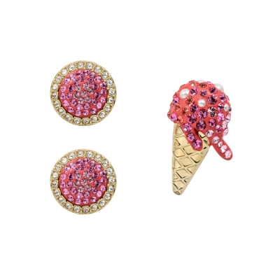 SWAROVSKI 施華洛世奇 璀璨水晶夏日冰淇淋金色耳環