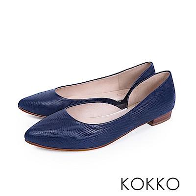 KOKKO -首爾早晨尖頭側挖空素面平底鞋-深寶藍