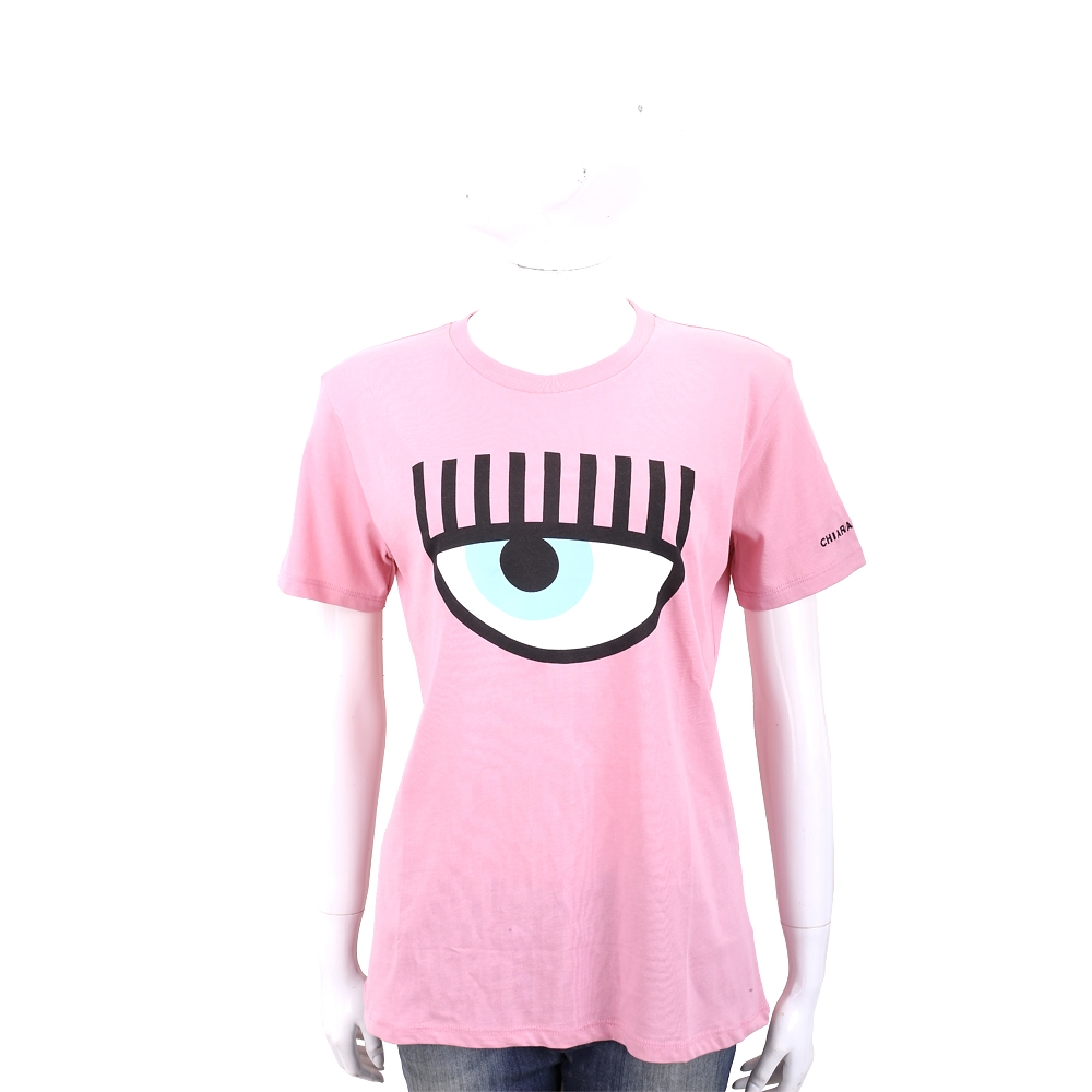 Chiara Ferragni Flirting 眨眼圖騰粉色棉質短T恤