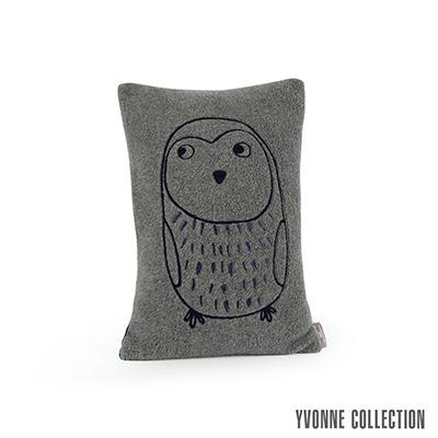 Yvonne Collection 小貓頭鷹抱枕30x45cm-暗灰