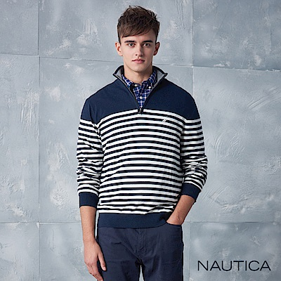 Nautica條紋細針織長袖毛衣-深藍