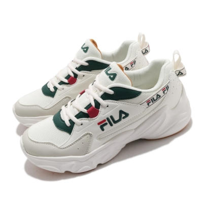 Fila 休閒鞋 Hidden Tape2 厚底 男鞋 斐拉 老爹鞋 穿搭推薦 復古慢跑鞋 白 綠 1J329V116