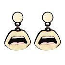Yazbukey法國品牌 金色嘴唇設計垂墜夾式耳環