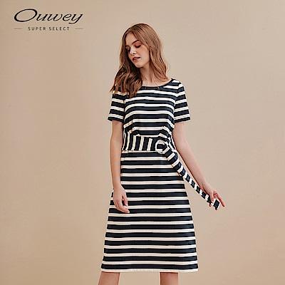 OUWEY歐薇 休閒感撞色條紋長洋裝(藍)