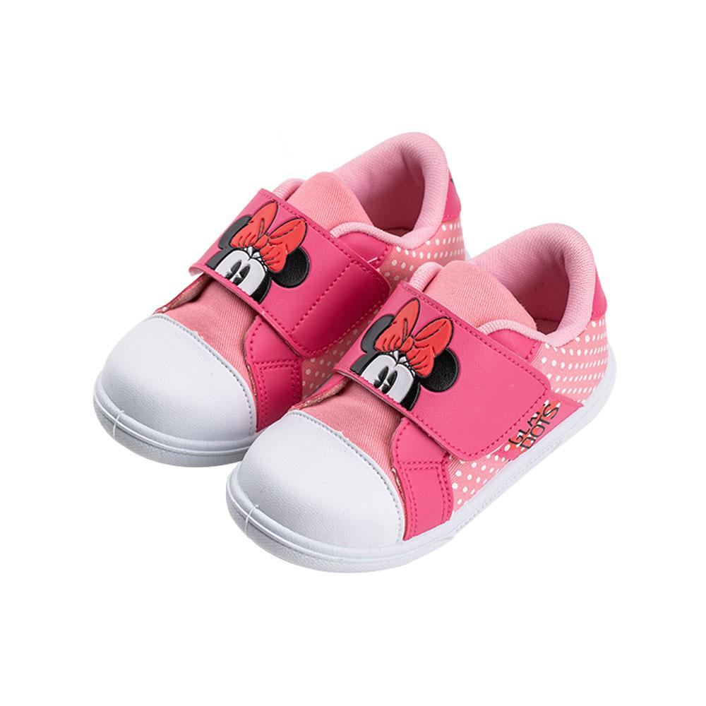 迪士尼童鞋 米妮 經典復古款魔鬼氈休閒鞋-粉